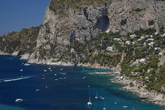 Coastline of Capri near Marina Piccola. Capri, Italy. Coastline of Capri, near Marina Piccola, seen from Tragara viewpoint. Capri, Italy Royalty Free Stock Photo