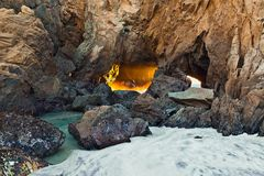 Coastline Cave. Royalty Free Stock Images