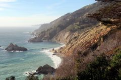 Coastline in Central California Big Sur. Cliffs and ocean on CA road trip down Highway 1 HWY-1 HWY 1 - beautiful turquoise waters and inspiring nature Royalty Free Stock Photography