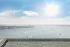 Coastline city. Under blue sky Royalty Free Stock Image
