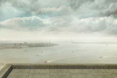 Coastline city. Under cloudy sky Royalty Free Stock Images