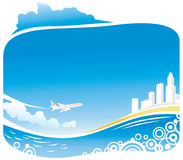 Coastline City Airbus Arrival. Ocean with City on the border and Airbus flying Royalty Free Stock Photos