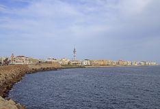The coastline of city Cadiz in Spain royalty free stock photography