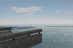 Coastline and city. Coastline and large urban city stock photos