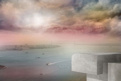 Coastline and city. Coastline and large urban city royalty free stock images