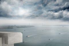 Coastline and city. Coastline and large urban city stock image