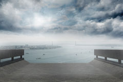 Coastline and city. Coastline and large urban city stock images