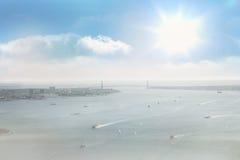 Coastline city. Under blue sky royalty free stock photo