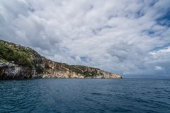 Cliffs near Blue Caves in Zante. Coastline cliffs near Blue Caves as seen from a tourist boat, Zante Island, Greece royalty free stock photography