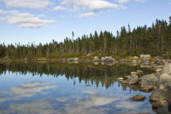 Coastline Clouds. Clouds reflecting off a lake in Maine Stock Image