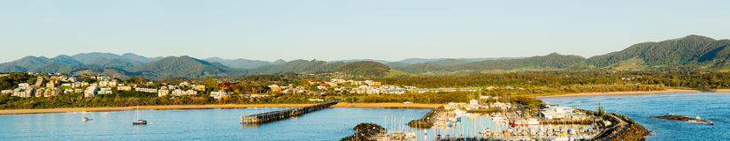 Coastline at Coffs Harbour Australia. Coastline of Coffs Harbour in New South Wales Australia taken from top of Muttonbird Island Nature Reserve royalty free stock image