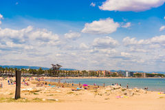 Coastline Costa Dorada, beach in La Pineda, Tarragona, Catalunya, Spain. Copy space for text. Stock Photo