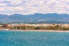 Coastline Costa Dorada, main beach in Salou, Tarragona, Catalunya, Spain. Copy space for text. Stock Photography