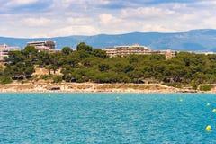 Coastline Costa Dorada, main beach in Salou, Tarragona, Catalunya, Spain. Copy space for text. Stock Image