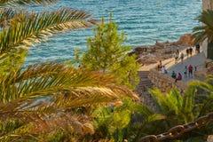 Coastline Costa Dorada, promenade at Salou, Spain. Summertime sunset.
