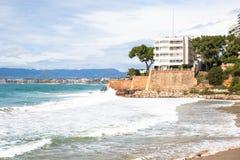 Coastline Costa Dorada, Salou, Spain. Beautiful sea and palms. On a beach Royalty Free Stock Image