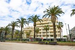 Coastline Costa Dorada, Salou, Spain. Beautiful sea and palms. On a beach Royalty Free Stock Images