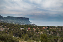 Coastline Cote d`Azur on a cloudy day royalty free stock photo