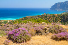 Coastline of Crete with blue lagoon Royalty Free Stock Photography
