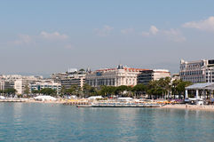 Coastline and Croisette bulevard in Cannes. Coastline and Croisette bulevard with luxury hotel in Cannes, France Royalty Free Stock Image