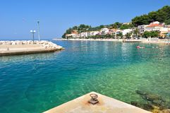 Coastline with crystal clear sea in port of Podgora-Caklje Royalty Free Stock Images