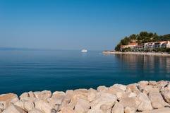 Coastline with crystal clear sea in port of Podgora-Caklje in Croatia Royalty Free Stock Photo