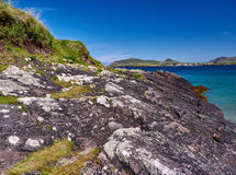 Coastline in Dingle, Ireland. On beautiful days the water on the Dingle beaches is of a deep azure royalty free stock photo