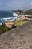 Coastline east off Castillo San Felipe del Morro. Royalty Free Stock Photo