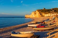 Coastline of Etretat Normandy France around sunset royalty free stock image