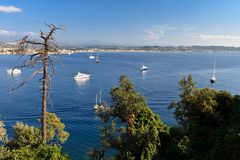 Coastline on the French Riviera. Beautiful Scenic Coastline on the French Riviera near Cannes, France Stock Photos