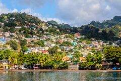 Coastline full of boats with lots of living houses on the hill, Kingstown, Saint Vincent and the Grenadines