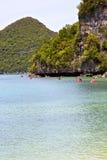 coastline of a green lagoon and tree  kayak  phangan  bay Royalty Free Stock Photos