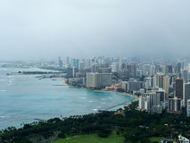Coastline of Hawaii Honolulu Waikiki Foggy Day Royalty Free Stock Photos