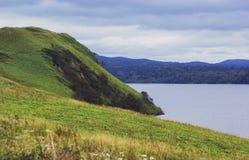 Coastline. With hills kunashir island stock photography