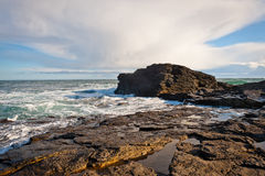 Coastline in Ireland. Rocky coast in hook Head, County Wexford, Ireland Royalty Free Stock Photo