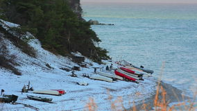 Coastline on the island of Gotland in Sweden during winter stock video footage