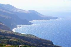 Coastline of the island La Palma along the Atlantic Ocean Royalty Free Stock Photos