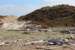 Storm damage at a dune on the Island of Sylt royalty free stock images