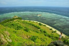 Coastline of Kanawa Island in Flores Sea, Nusa Tenggara, Indonesia royalty free stock image