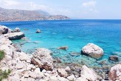 The Coastline of Karpathos Island, Greece stock photography
