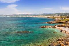 Coastline of Kissamos town on Crete. With Samaria mountains, Greece Stock Images