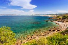 Coastline of Kissamos town on Crete. With Samaria mountains, Greece Stock Photo