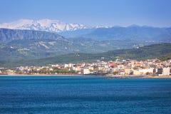 Coastline of Crete, Greece. Coastline of Kissamos town on Crete with Samaria mountains, Greece Stock Photos