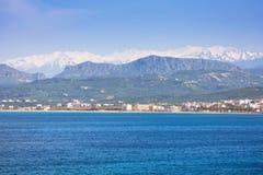 Coastline of Crete, Greece. Coastline of Kissamos town on Crete with Samaria mountains, Greece Royalty Free Stock Photos