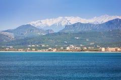 Coastline of Crete, Greece. Coastline of Kissamos town on Crete with Samaria mountains, Greece Stock Photo