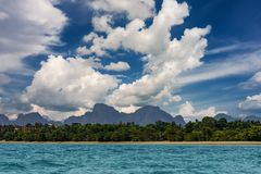 Coastline of Krabi island with clouds in high winds, Thailand stock images