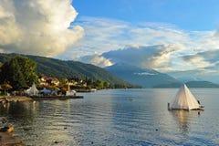 Coastline of Lake Zug in Switzerland. Scenic coastline of Lake Zug in Switzerland Royalty Free Stock Photo