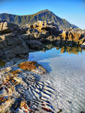 Coastline Landscape, Low Tide. Mountains and low tide coastline landscape on Lofoten Islands, Norway Royalty Free Stock Photos