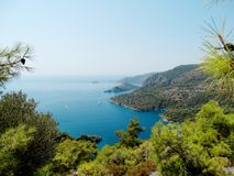 Coastline landscape of mediterranean sea turkey. Mediterranean sea landscape view of coast and mountains Stock Photography