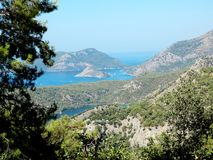 Coastline landscape of mediterranean sea turkey. Mediterranean sea landscape view of coast and mountains Royalty Free Stock Photography